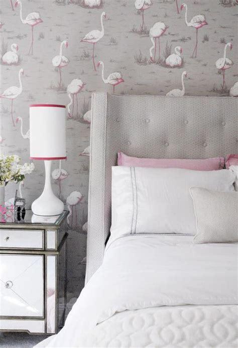 pink  gray teen girl bedroom  pink flamingos