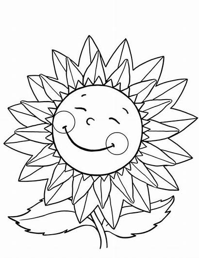 Sunflower Coloring Happy Pages Sunflowers Flower Flowers