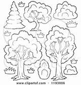 Trees Shrubs Flowers Cartoon Clipart Shrubbery Vector Lush Outlined Coloring Pages Royalty Visekart Template sketch template