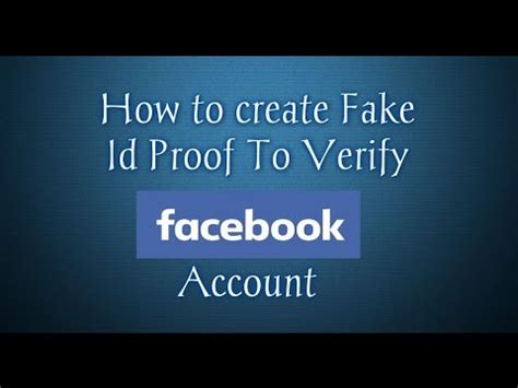 How To Make Fake Id Card Proof For Facebook Account