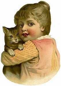 Vintage, Child, With, Cat, Image