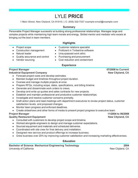 manager resume sle my resume