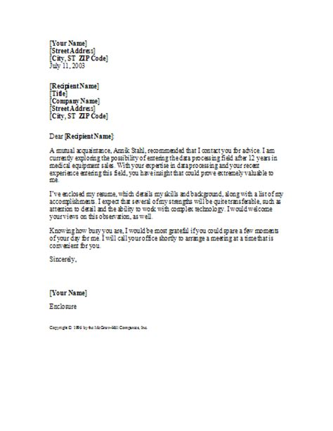 cover letter with referral from acquaintance cover