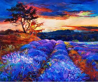Landscape Painting Canvas Lavender Fields Impressionism Artwork