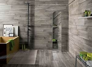 Wood In Bathroom Waterproof Featuring Black Finish