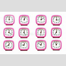 Collection Of Clock From 1200 To 100 Am And Pm Isolated In Whi Stock Photo  Image Of Face