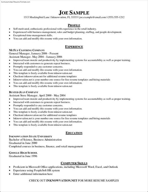 General Resume Outlines by Free General Resume Template Free Sles Exles