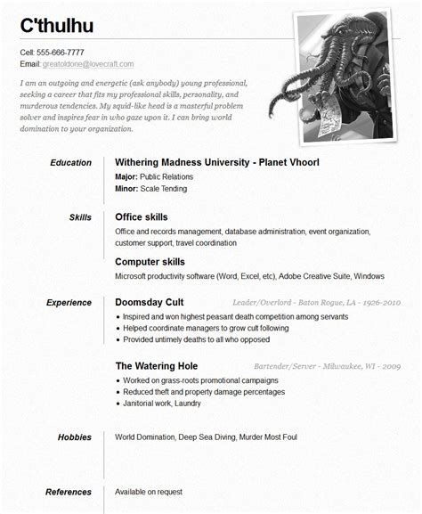 c thulhu one page resume open resume templates