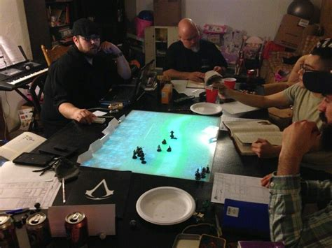 lit dnd table    projector  pieces