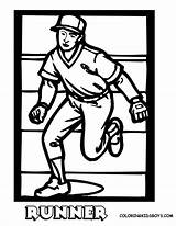 Baseball Coloring Pages Runner Print Yescoloring Sports Run Drawing Easy Boys Base Sporty sketch template