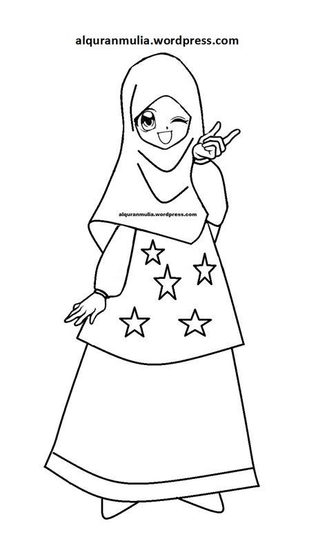 mewarnai gambar kartun anak muslimah 115 alqur anmulia