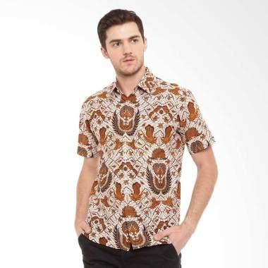 jual batik agrapana print prabawa lengan pendek kemeja batik pria coklat harga