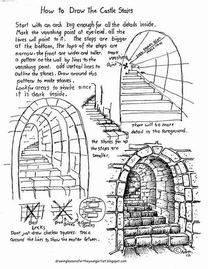 Drawing Draw Stone Worksheet Stairs Lesson Castle