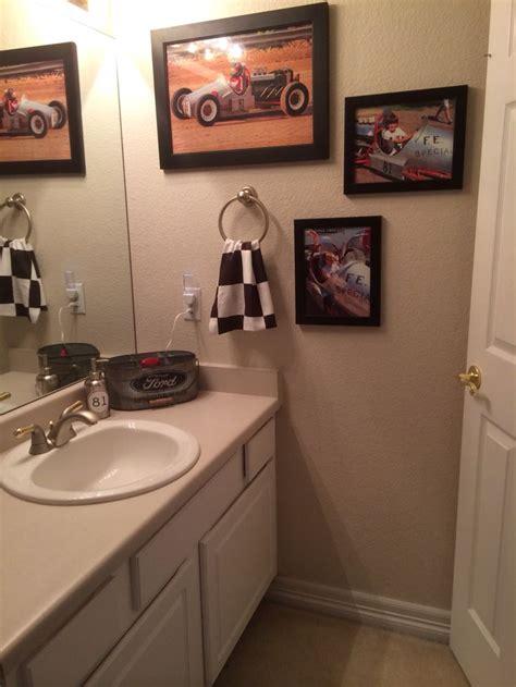 Boys In The Shower - boy bathroom vintage race car theme checkered flag
