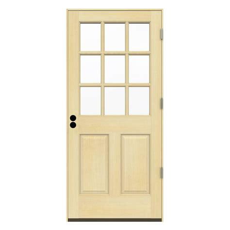 30 x 80 exterior door with window jeld wen 30 in x 80 in 9 lite unfinished fir prehung