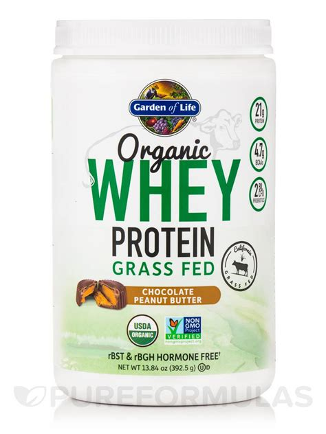 garden of products organic whey protein grass fed chocolate peanut butter