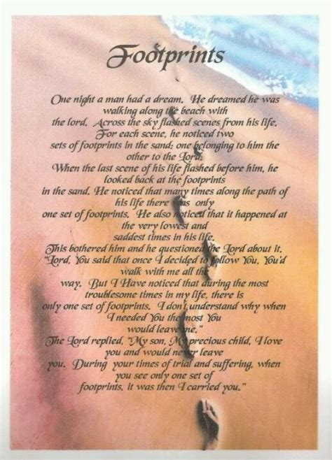 footprint prayer quotes quotesgram