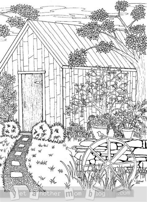 coloring page  grown ups garden scene garden