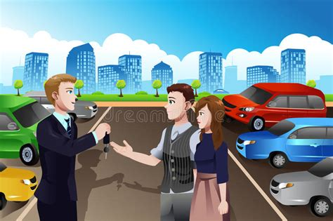 Car Salesman With Customers In The Dealership Stock Vector