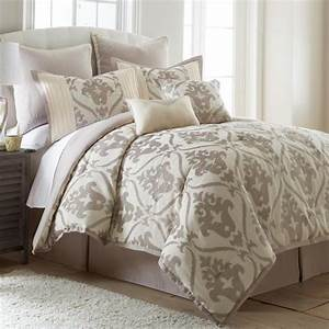 Queen, King, Tan, Taupe, Ivory, Cream, Embroidered, Damask, 8, Pc, Comforter, Set, Bedding