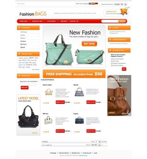 magento templates mg04a00402 magento template for fashion stores