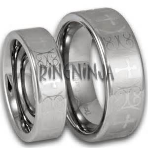 his and hers wedding rings cheap his and hers tungsten wedding ring set w laser etched cross pattern cheap tungsten rings
