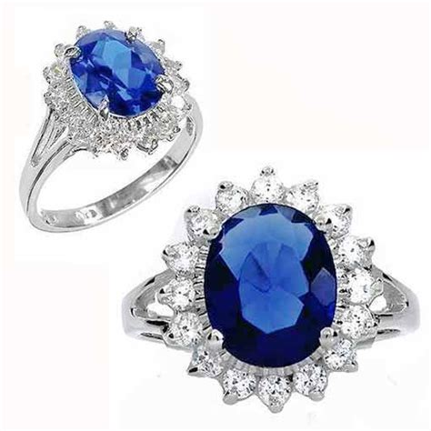 platinum plated wedding engagement blue sapphire ring imitation sapphire crystal rings size 6