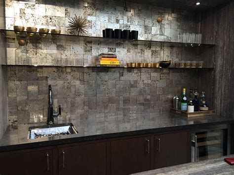 Bar Backsplash the most beautiful bar the backsplash tile is silver leaf