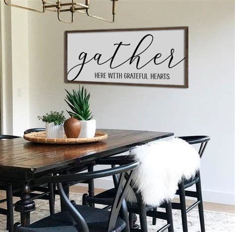 Since a dining table is a place in which you usually gather with your family, why don't you recall the. Gather Here With Grateful Hearts | Fall Wall Decor | Fall Signs | Dining Room Wall Decor | Large ...