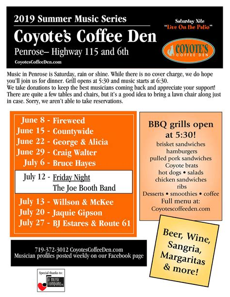 Coffee and smoothie bar with great food! 2019 Summer Music Series @ Coyote's Coffee Den - Find It In Florence