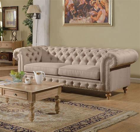 nailhead trim sofa set shantoria collection beige linen tufted sofa w nailhead trim