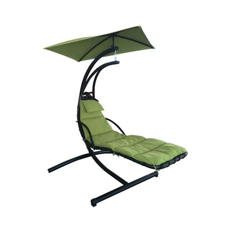 shop garden treasures green polyester single hammock chair
