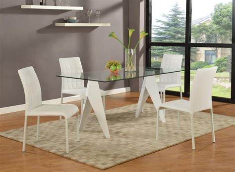 exotic rectangular clear glass top leather modern dinette