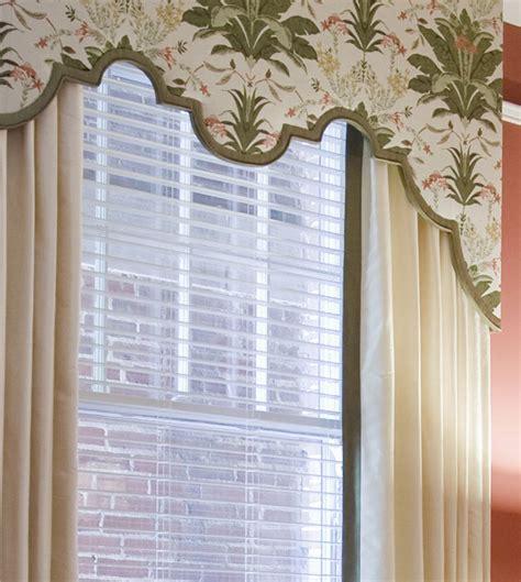 Cornice Boards by Custom Scalloped Cornice Board With Drapery Panels Top
