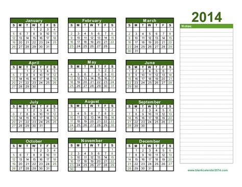2014 Year Calendar Template by Yearly Calendar 2014 Printable Calendar 2014 Blank