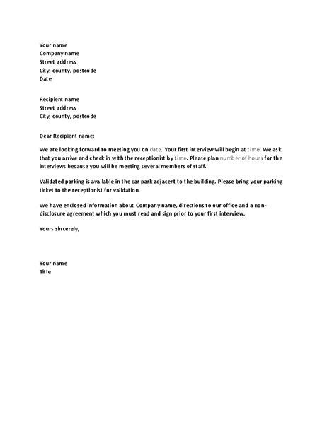 letter confirming candidates job interview