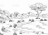 Landscape Lake Savannah Sketch Vector Illustration Graphic Africa River Cartoon sketch template