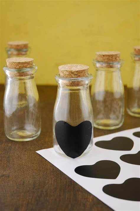 vintage milk bottles  chalk heart labels