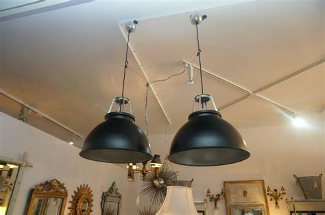Pair Of Industrial Style Metal Light Fixtures, Black And