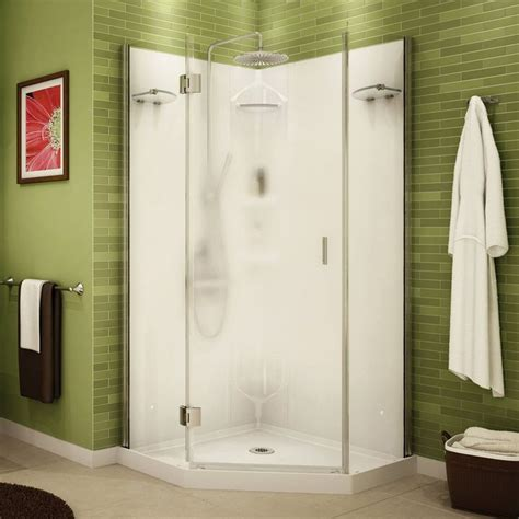 shower stall   reversible pivoting door  chrome