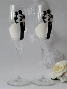 Painted Wedding Champagne Glasses
