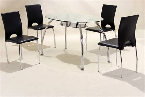 clear glass dining table and 4 chairs oval clear glass chrome dining table and 4 chairs