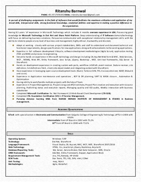 Sle Resume For Technical Lead by Microsoft Technical Lead Resume 1