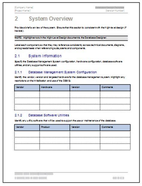 software design document template database design document ms word template ms excel data model