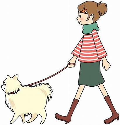 Dog Clipart Walking Woman Person Drawing Transparent