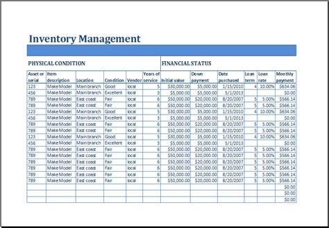 excel business inventory management template excel templates