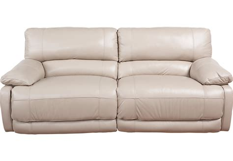 beige leather reclining sofa cindy crawford home auburn hills taupe leather power