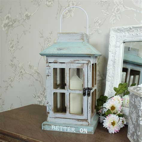 shabby chic lantern blue wooden glass candle lantern stand shabby vintage chic garden lighting home ebay