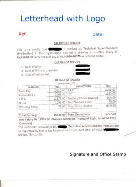 format  salary certificate  sample salary certificate