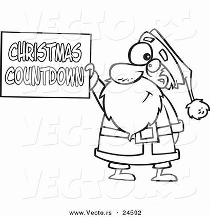 Countdown Coloring Santa Cartoon Outlined Holding Ron